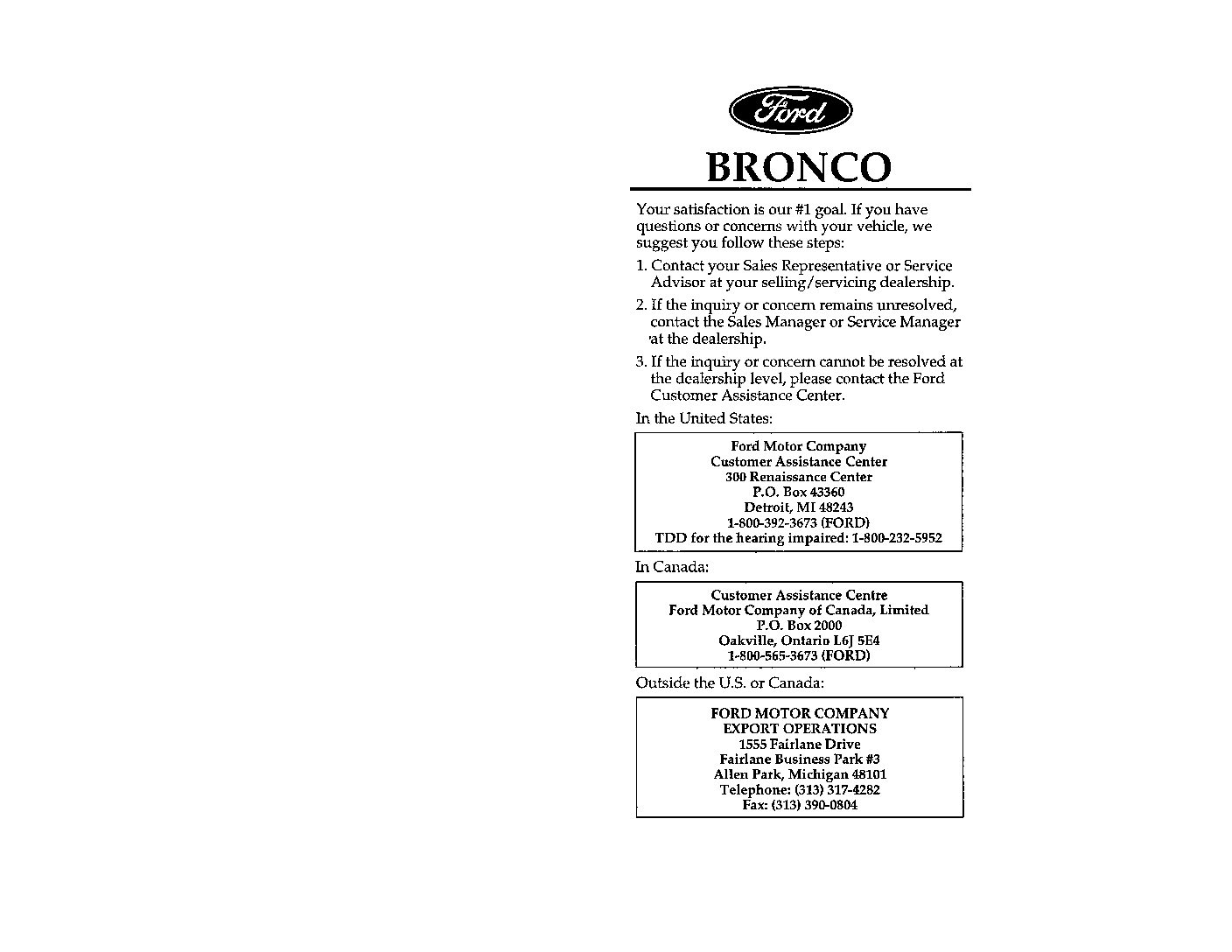 1988 Ford Bronco Owner s Manual Owners Manual Just Give