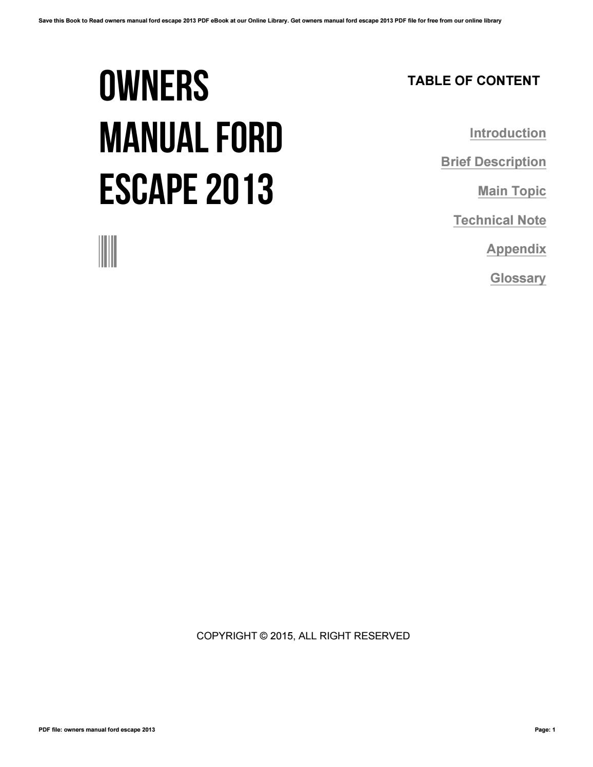 Owners Manual Ford Escape 2013 By Dwse54 Issuu